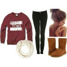 Toms sweater, cream scarf, black leggings, brown boots. Any day any day