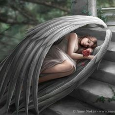 Fantasy Gothic Art Canvas Wall Plaque Sweet Sorrow by Anne Stokes 33 uk Anne Stokes, Angels Among Us, Angels And Demons, Fallen Angels, Dark Angels, Illustration Fantasy, Photo Illustration, I Believe In Angels, Ange Demon