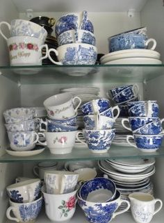 my kitchen collection of blue and white Kitchen Collection, Blue And White, Tea, Mugs, Antiques, Tableware, Vintage, Antiquities, Antique