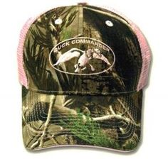Duck Commander Womens Realtree AP Camo/Pink Mesh Hat. Duck Commander Women's RealTree AP Camo and Pink Mesh Hat. One Size Fits Most. Velcro Closure. 65% Cotton / 35% Polyester. Logo on the Front ,Pink and Realtree.