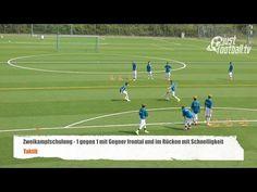Fussballtraining: 1 gegen 1 mit Gegner frontal und Schnelligkeit - Zweikampfschulung - Taktik - YouTube