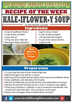 KALE, CAULIFLOWER & CELERY SOUP - PHASE 1 APPROVED These delicious veggies…