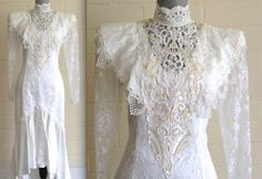 Vintage 80s Jessica McClintock wedding dress - long sleeved lace beads sequins high collar satin mermaid high-low train Victorian inspired