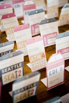 And luggage tags can double as escort cards: | 27 Travel-Inspired Wedding Ideas You'll Want To Steal