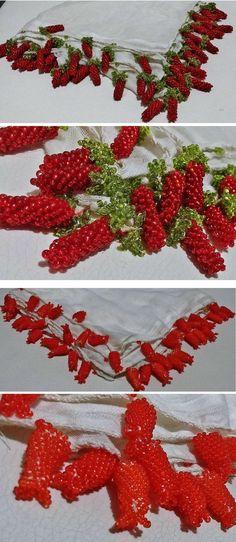 An 'oyalı yazma' - (white silk) headscarf edged with 'boncuklu oya' (bead-work edging).  From Kozak Yaylası, near Bergama.  From newcomers, ca. 1975.  The beads used are (small) glass ones.  (Source: Tekin Uludoğan, Balıkesir).