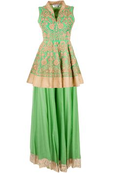 Green dori embroidered kurta with sharara available only at Pernia's Pop-Up Shop.