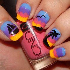 pretty sunset and palm tree nail art