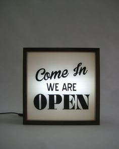 Come In We Are Open Sign Light, Hand Painted Handcrafted Wooden Light Box Sign, Window Hanging Business Signs, Square Oak Frame by Bingkai on Etsy We Are Open Sign, Open Signs, High Ceiling Lighting, Sign Lighting, Chandeliers, 12v Led Strip Lights, Mid Century Light Fixtures, Barber Shop Decor, Good Day Song