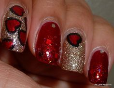 Red & Gold. Adorable heart nails!