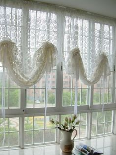Vintage hand crochet white Adjustable Pull up curtain