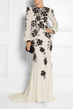 Oscar de la Renta|Floral-appliquéd silk-crepe gown|NET-A-PORTER.COM