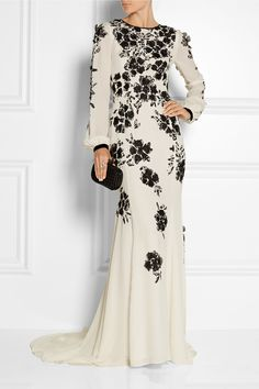 Oscar de la Renta Floral-appliquéd silk-crepe gown NET-A-PORTER.COM