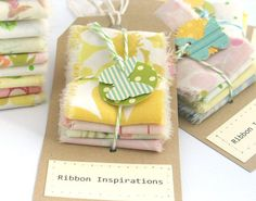 So clever and cute.  Vintage linens turned into vintage ribbon.  I am making a gazillion on these.