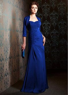 Buy discount Brilliant Taffeta Sweetheart Neckline Floor Length Mother of the Bride Dresses With Lace Appliques at Dressilyme.com