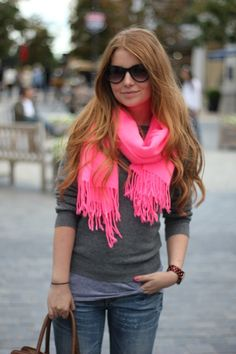 LOVVEEE the hot pink scarf! I have hot pink shoes that would go great with it!