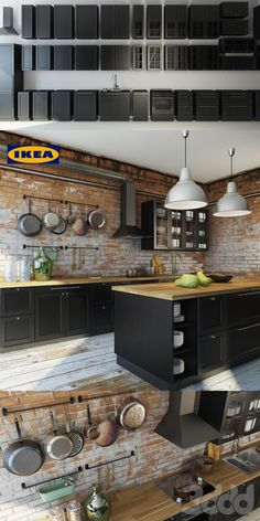 IKEA laxarby cabinets with brick and wood equals love!