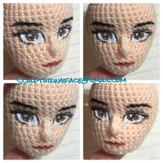 "445 Me gusta, 10 comentarios - Sculpturingface (@sculpturingface) en Instagram: ""Painted original #amigurumi #crochet #patterns by #Sculpturingface  Seems quite successful"""