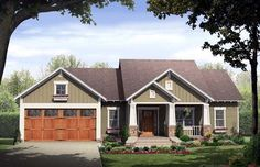 House Plan 59146 | Cottage Country Craftsman Plan with 1509 Sq. Ft., 3 Bedrooms, 2 Bathrooms, 2 Car Garage at family home plans