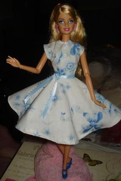Circular skirt dress for Barbie Doll in blue and white floral  -  ed11