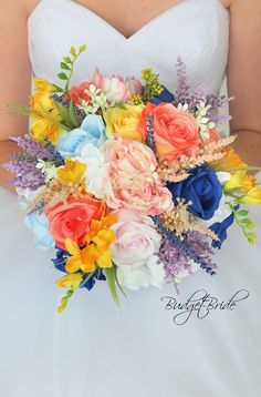 Davids Bridal Wildflower Horizon Wedding Bouquet with yellow, coral reef, pink, ice blue and yellow Bright Wedding Colors, Yellow Wedding Flowers, Spring Wedding Colors, Prom Flowers, Wedding Color Schemes, Whimsical Wedding Flowers, Summer Wedding Bouquets, Fall Wedding, Wedding Dresses