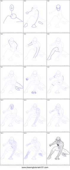 How to Draw Spiderman Printable Drawing Sheet by DrawingTutorials101.com