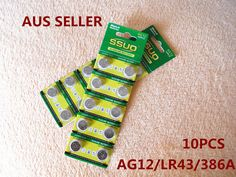 10pcs AG12/LR43/386A Button Cell Coin JAPAN STD Alkaline Battery 1.55V  Watches