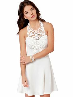 Short, White, Lace Halter Dress
