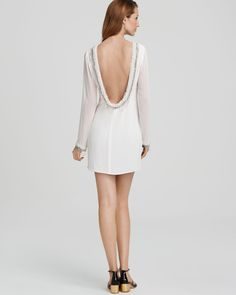 ABS by Allen Schwartz Long-Sleeve Open-Back Dress Women - Contemporary - Bloomingdale's Open Back Dresses, Here Comes The Bride, Dresses Online, Backless, Cold Shoulder Dress, Abs, White Dress, Long Sleeve, Weddings