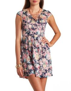 Open Back Floral Print Lace Dress. Charlotte Russe.