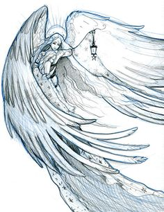 Custom Guardian Angel Watercolor Painting
