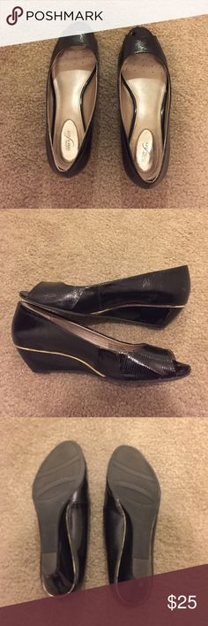 Alfani black peep toe wedges, size 8 Alfani black peep toe wedges, size 8 Alfani Shoes Heels