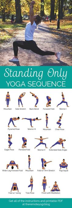 Standing Only Yoga Flow - Free Printable PDF - the remote yogi Do you ever feel. Standing Only Yoga Flow – Free Printable PDF – the remote yogi Do you ever feel like a quick y Yoga Yin, Yoga Bewegungen, Bikram Yoga Poses, Ashtanga Yoga, Vinyasa Yoga, Yoga Handstand, Yoga Flow Sequence, Yoga Sequences, Yoga Routine