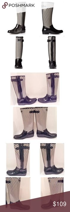 "Gioseppo Geometric Rain Boot Gioseppo Geometry black and white tall rain boot.  Size 9 (EU 39) medium. New with box.  Tall, pull on boot features waterproof cobstruction, side zip, and twin adjustable buckles. Heel:  1""; platform .5""; shaft height from arch: 14.5""; boot opening: 14"".  No trades. Gioseppi Shoes Winter & Rain Boots"