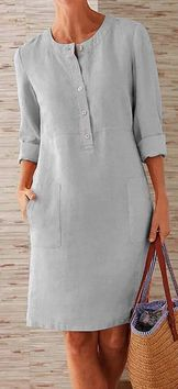 Pockets Front Long Sleeves Linen Mini Dress for a casual look fits daily life Long Sleeve Midi Dress, Sleeved Dress, Dress Long, Casual Summer Dresses, Dress Summer, Linen Dresses, Dresses Dresses, Fashion Dresses, Mode Style
