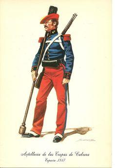 Carlists Artillery of Cabrera 1847 Napoleonic Wars, Military History, Warfare, 19th Century, Battle, Spanish, Empire, Superhero, Flags