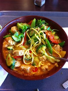 A vegetarian Laksa with Quorn