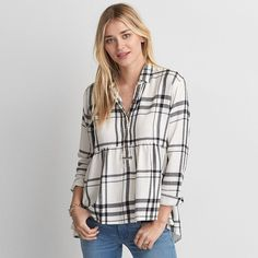 AE Ahh-mazingly Soft Plaid Babydoll Shirt ($50) ❤ liked on Polyvore featuring tops, white, plaid flannel shirt, boyfriend shirt, long plaid boyfriend shirt, baby doll shirts and boyfriend flannel shirt