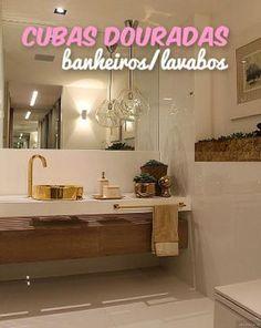 Construindo Minha Casa Clean: Banheiros e Lavabos Decorados com Cubas Douradas!