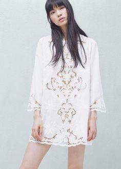 vestido em algodão com bordado no centro mango