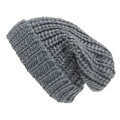 Phase 3 Chunky Rib Knit Beanie (44 BRL) ❤ liked on Polyvore featuring accessories, hats, beanies, head, grey castlerock, knit slouchy beanie, knit hat, gray beanie hats, grey beanie and slouchy hat