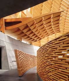 Cathedral of Christ The Light, Oakland, CA. Design architect: Skidmore, Owings & Merrill. Wood Architecture, Architecture Details, Exterior Design, Interior And Exterior, Curved Wood, Artistic Installation, Into The Woods, Ceiling Design, Ceiling Detail