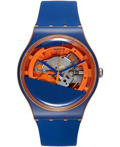 Swatch Unisex Swiss Myrtil-Tech Blue & Orange Double-Layered Silicone Strap Watch 41mm SUOO102