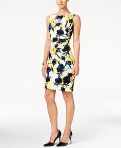675fc2c3 Ivanka Trump Zipper-Trim Floral-Print Sheath Dress & Reviews - Dresses -  Women - Macy's