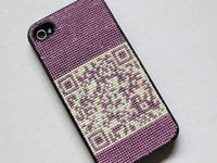 cross stitched iPhone cover by Dominique Falla
