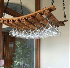 Suspended wine glass rack oak barrel staves by Bespokebarrels