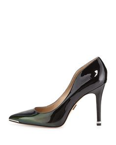 """Michael Kors Avra Pointed-Toe Pump  Forest green patent calf leather. Pointed toe with metal outline. 4 1/2"""" covered heel. Leather sole. Imported. Nieman Marcus $395"""