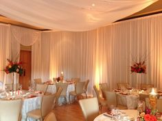 Morton Arboretum Wedding with our beautiful ivory room draping, amber uplighting and ivory ceiling canopy