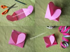 Little heart card diy Easy Crafts For Kids, Fun Crafts, Diy Paper, Paper Crafts, Origami Envelope, Heart Origami, Craft Images, Heart Cards, Mothers Day Cards