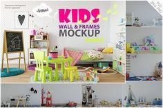 Kids Wall & Frames Mockup - BUNDLE by Yuri-U on @creativemarket