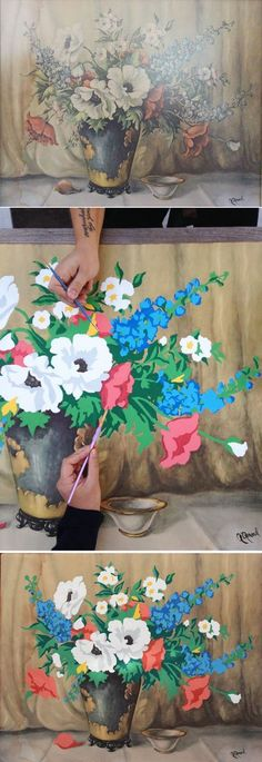 DIY Paint By Numbers Art. Make new art by painting over thrift store finds. I love this idea!